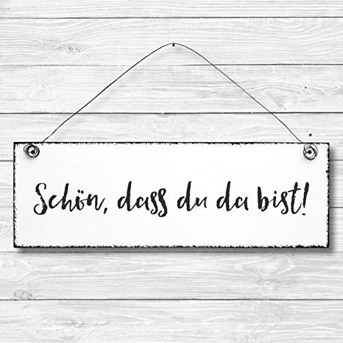Schön, dass du da bist - Dekoschild Türschild Wandschild aus Holz 10x30cm - Holzdeko Holzbild Deko Schild