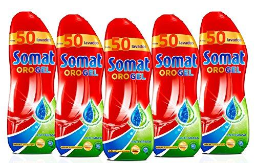 Somat Oro Gel, Lavavajillas Antigrasa para 50 Lavados, 1000 ml, 5 Unidades