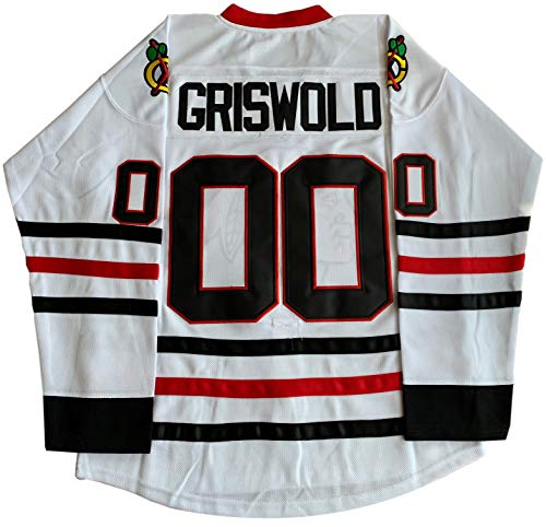 Clark Griswold #00 X-Mas Christrmas Vacation Stitched Movie Ice Hockey Jersey (White, XXX-Large)