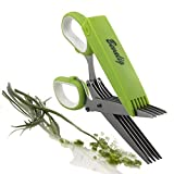 Herb Scissors - Snip, Chop and Cut Herbs - 5 Sharp Blades Stainless Steel Multipurpose Kitchen Shear with Cover and Cleaning Comb - Premium Cooking Gadget for a Healthy Meal
