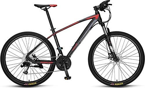 Forever Adult MTB Mountain Bike Hardtail Bicicletta con sedile regolabile, YE880, 27,8 cm, 33 velocità, telaio in lega di alluminio, nero-rosso, freno idraulico a disco