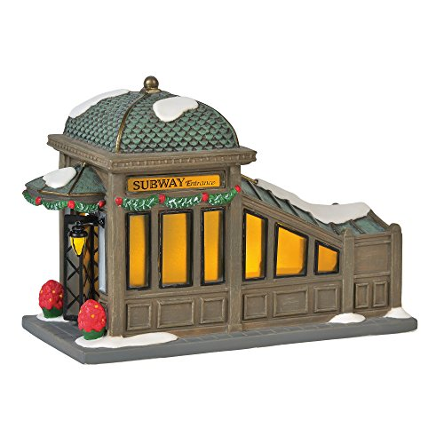 Department 56 Christmas in The City Village Accessories 56th Street Subway Station Lit Figurine, 4.75', Multicolor,6000578