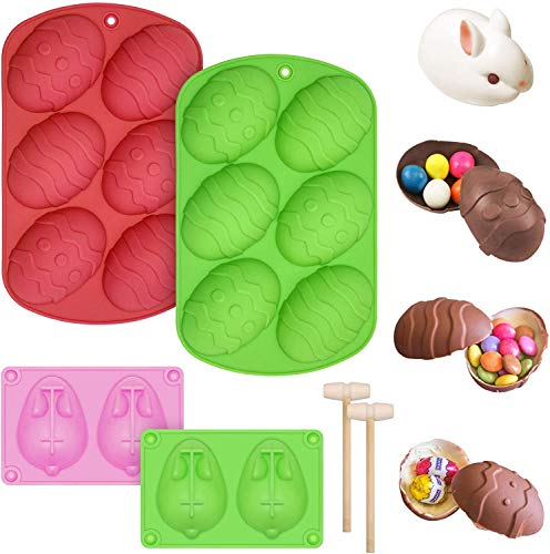 2 Pieces 6-Cavity Easter Silicone Mold, 3D Easter Bunny Cake Baking Molds with 2 Wooden Hammer, Silicone Egg Molds Chocolate Cake Pastry Truffle for DIY Candy, Jelly Dessert Decoration