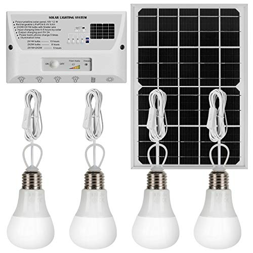 YINGHAO Solar Lights Indoor Home with 4 Hanging LED Bulbs, 12W Solar Panel, Cell Phone Charger, 6000mAh Lithium Battery, Outdoor Waterproof Solar Lights for Garden, Yard, Camping, Shed, Barn, Garage