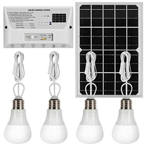 YINGHAO - Luz solar para interiores con interruptores, 4 bombillas LED colgantes, panel solar de 12 W, cargador de teléfono celular, batería de litio de 6000 mAh, cable solar de 33 pies para cobertizo, granero, jardín, camping