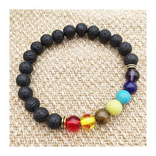 SLLX Black Lava Rock 8mm Beads 7 Chakra Healing Balance Pulsera para Hombres Mujeres Reiki Oración Puesta de oración Yoga Chakra Pulsera (Metal Color : 5 PCS)
