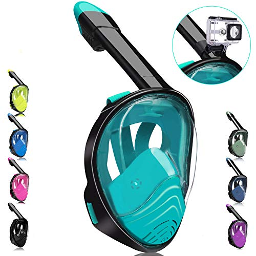 QingSong Full Face Snorkel Mask Snorkeling Mask with Detachable Camera Mount 180 Degree Panoramic View AntiFog AntiLeak Snorkel Set for Youth amp Adult
