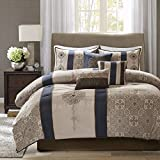 Madison Park Comforter Faux Silk-Traditional Luxurious Jacquard Design All Season Set, Matching Bed Skirt, Decorative Pillows, Queen(90'x90'), Navy
