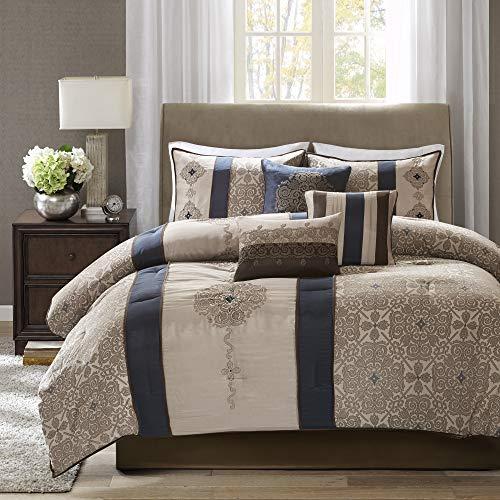Madison Park Comforter Faux Silk-Traditional Luxurious Jacquard Design All Season Set, Matching Bed Skirt, Decorative Pillows, King(104'x92'), Navy
