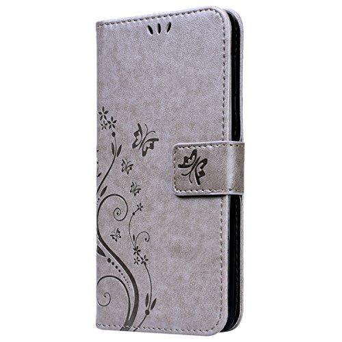 VemMore Huawei Honor 6X Hülle Handyhülle Schutzhülle Leder PU Wallet Flip Case Bumper Lederhülle Ledercase Schmetterling Blumen Muster Klapphülle Ultra Slim Dünn Klappbar Magnetisch Backcover - Grau - 2