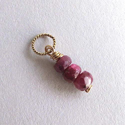 Genuine Ruby Charm Small Gemstone Pendant July Birthstone 14k Gold Filled