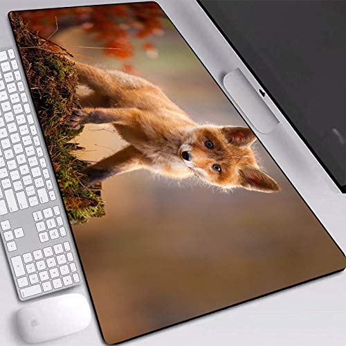 Mousemat Mouse-Pad Gaming Super Large Non-Slip Softy Rubber With Small Cute Fox Pattern Laptop Desk Mats Games-400X700X2Mm