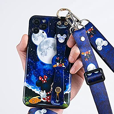 IPhone 12 Mini Case,Cute Cartoon Personalized Full Protective Phone with Wrist Strap Kickstand Lanyard Full-Body Shockproof Protective Wrist Band Cover for iPhone 12 Mini 5G 5.4'' 2021