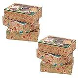 Amosfun 6 Stück Weihnachtsdose Keksdose Vintage Retro Kraftpapierbox mit Sichtfenster und Geschenkanhänger Plätzchendose Geschenkbox Süßigkeit Dosen für Xmas Silvester Partygeschenke