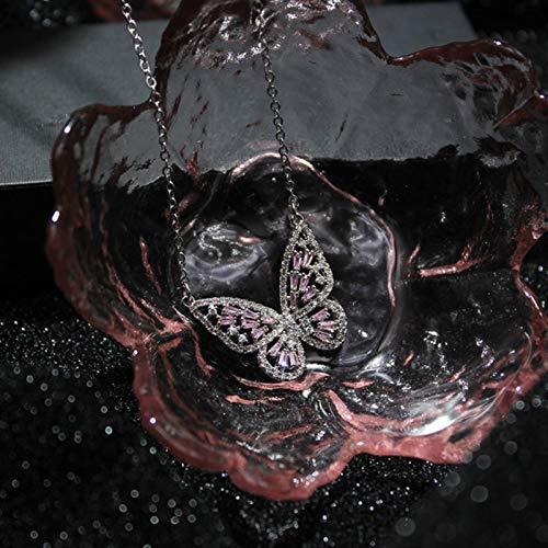 mengnuo Accesorios de Moda de Lado Brillante, aretes de Cristal con Forma de Mariposa para Regalo de Mujer, Elegantes aretes de circonita-collar15