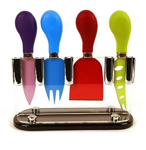 Lote de cuchillos para queso (4 unidades, acero de Sheffield, hoja antiadherente), multicolor