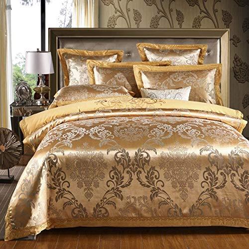 Usitde Soft Golden Duvet Cover Paisley Damask Design Jacquard Duvet Cover Set Silk Bedding Set with Pillowcase King Size for Home Hotel