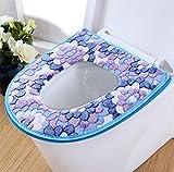 Fulinmen 2pcs Espesa la Cubierta de Asiento de Inodoro Cojín -WC la Estera del cojín de baño cálido-Universal Impermeabilice-Cremallera, Azul (Color : Blue)