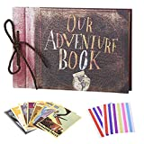 LINKEDWIN Our Adventure Book, Up Scrapbook Vintage Photo Album, Wedding Guestbook, Couple Gift, 11.6 x 7.5 inches, 80 Pages (Black Pages)