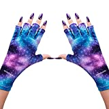 MelodySusie Protection UV Glove for Nail Lamp, Professional UPF50+ Gel Manicure Gloves, Starry Night Nail Art Skin Care Fingerless Gloves Protect Hands from UV Harm,Party Cosplay Halloween Costume