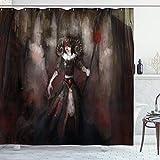 ABAKUHAUS gótico Cortina de Baño, El Mal Medieval Mujer Mito, Material Resistente al Agua Durable Estampa Digital, 175 x 180 cm, Negro Gris Rojo