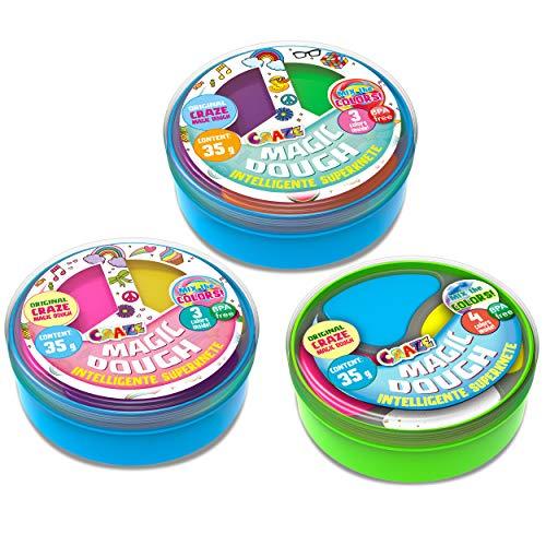 CRAZE 3er Set Knete 35g Verschiedene Farben in Einer Dose Mehfarbig Kinderknete Magic Dough Twist Set di 3 plastiline Intelligenti da 35 g, Assortiti in Una lattina di Colore Farina 26373, 30424