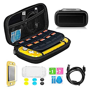 TSBEAU Protective Nintendo Switch Lite Carrying Case With 10 Games Card Slots TPU Case Cover Tempered Glass Screen Protector USB Cable 6X Thumb Stick Caps & Accessories Black