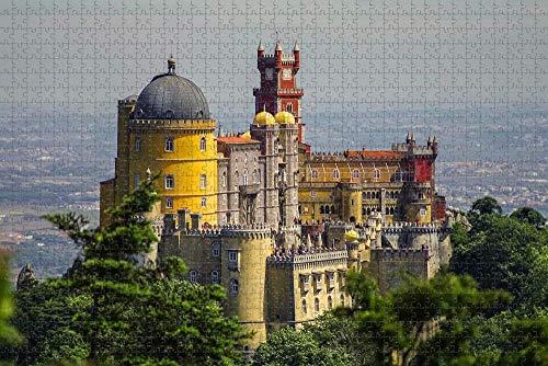 Rompecabezas para Adultos Portugal Castillo Espuma Sintra Lisboa Rompecabezas 1000 Piezas Recuerdo de Viaje de Madera
