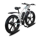 BAHAOMI Bicicleta Eléctrica 26' 21 velocidades Bicicleta de montaña eléctrica para Adultos 48V 13Ah Batería de Litio extraíble E-Bike con Motor 1000W Frenos de Doble Disco Commute Ebike,Blanco