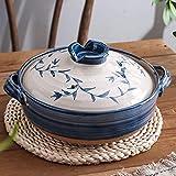 Olla caliente moldeada japonesa hecha a mano cacerola de cerámica redonda con tapa olla de barro cacerola aislada olla de cerámica olla para estofado lento cacerola antiadherente de hoja de 1,2 l