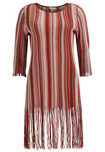 khujo Damen Kleid Mignon mit Fransen Strickkleid mit 3/4-Ärmeln Sommerkleid mit Streifenmuster