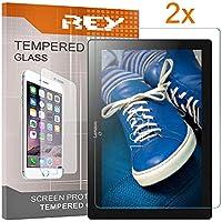 """REY 2X Protector de Pantalla para Lenovo Tab 2 A10-30 10.1"""" / Lenovo Tab 2 A10-70 10.1"""", Cristal Vidrio Templado Premium, Táblet"""