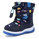 Boys Girls Winter Boots Waterproof Lightweight Kid Snow Boots with Fur Outdoor (Toddler/Little Kid/Big Kid),U219WMXTB004-light blue-25