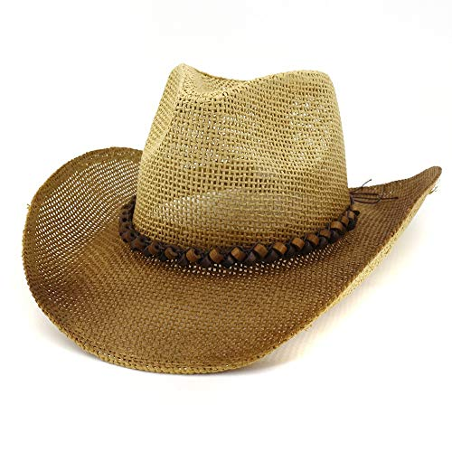 XinQuan Wang Gentleman Hat Western Spray Paint strooien hoed Mannen zonnehoed vrouwen paar Straw Hat Outdoor Beach Hat (Color : 2, Size : 56-58cm)