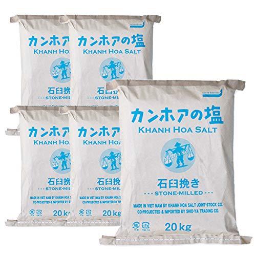 業務用 天日海塩 - カンホアの塩(石臼挽き粉末)20kg×5袋 昔ながらの天日塩 ベトナム・カンホアの美しい海水100%使用 太陽と風と人力でつくり上げる塩の芸術品