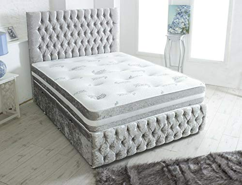 Home Furnishings UK SILVER VELVET CHESTERFIELD DIVAN BED SET WITH MATTRESS & 24 INCH HEADBOARD, 2 DRAWERS RIGHT, 3FT, Single (3FT Single) HF4You