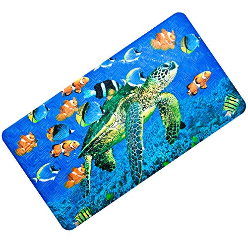 """OTHWAY Non-Slip Bath Tub Mat,Extra Soft Baby Kids Bathtub Mat,Anti-Slip Bath Mat for Bathroom Tub with Strong Suction Cups,Durable and Machine Washable Shower Mat 15""""x27"""" inches (Turtle)"""