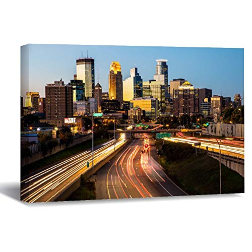 PotteLove Personalized Photo to Framed Canvas Prints Wall Art - Minneapolis, Minnesota Skyline at Sunset Canvas Picture Painting Artwork for Living Room Home Decoration Ready to Hanging 12'x16'