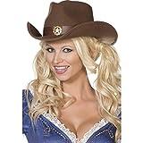 NET TOYS Cowboyhut Damen Cowgirl Hut braun Westernhut Cowgirlhut Wilder Westen Kostüm Zubehör