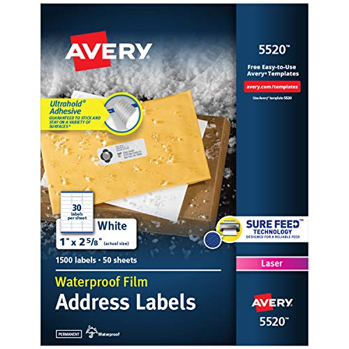 "Avery Waterproof Labels with Ultrahold Permanent Adhesive, 1"" x 2-5/8"", 1,500 Labels for Laser Printers (5520)"