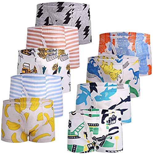 JackLoveBriefs Jungen Boxer Unterhose Baumwolle Kinder Unterwäsche (2-10 Jahre, Packung mit 9 Stück), Farbe: A3 , Gr.100