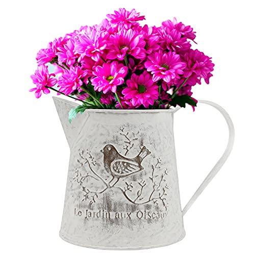 BELLE VOUS Vintage Blumentopf Metallvase Retro 13 cm - Französische Milchkanne Deko Landhausstil mit Griff - Rustikale Vintage Blumenvase mit Vogel Deko - Topf für Haus, Hochzeit und Büro