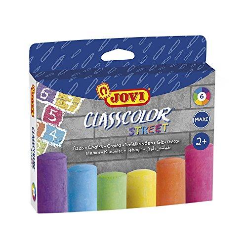 Jovi- Caja 6 tizas súpergruesas Suelo, Multicolor, unica (1030) , color/modelo surtido