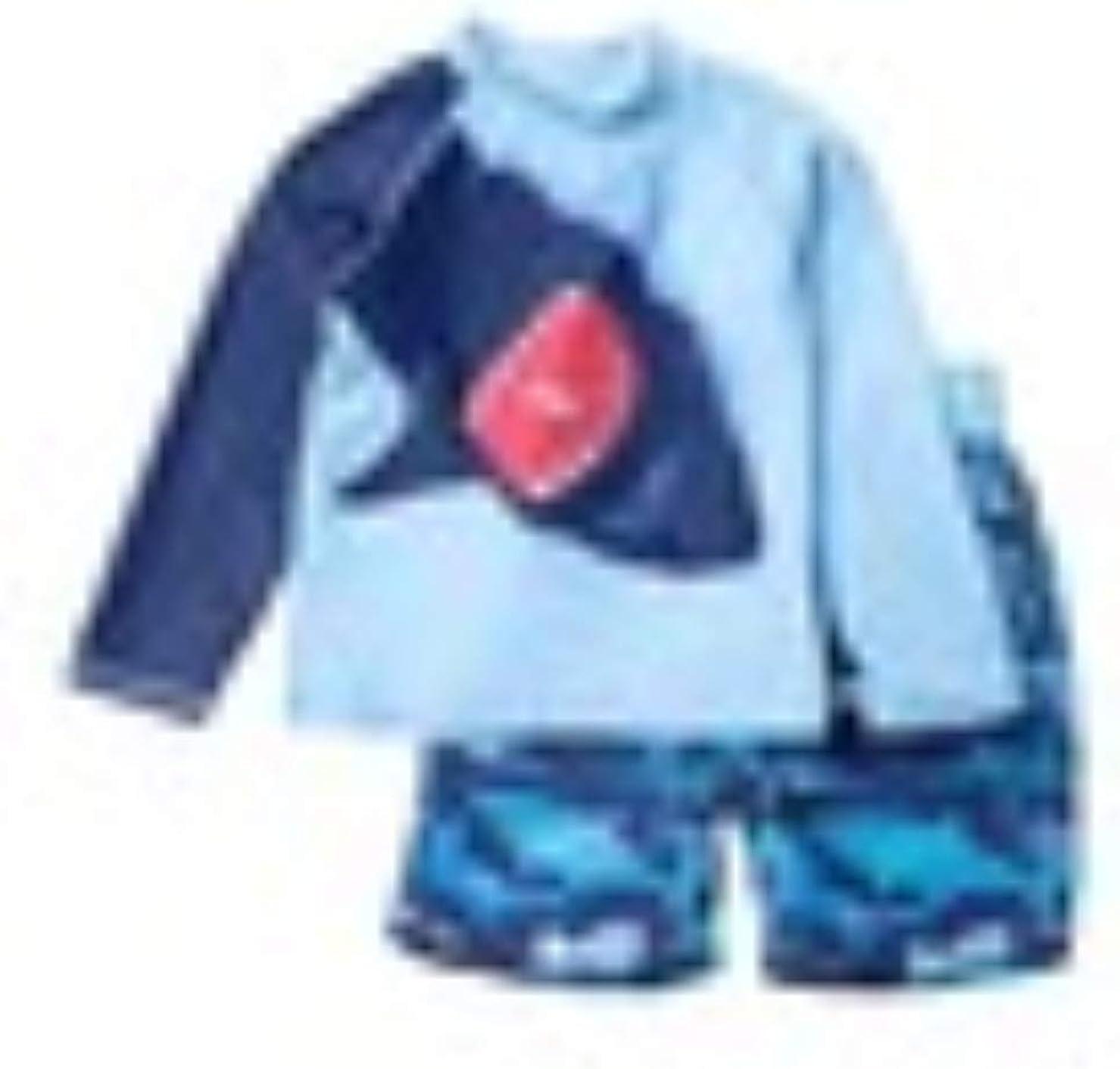 Navy Shark Boys' 2-Piece Swimsuit Trunk UV Ranking TOP19 Max 49% OFF and Protec Rashguard