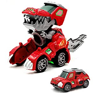 IndeCool Kids Electronic Dinosaur Robot Toy, Mechanical Walking Dinosaur Robot Toy with Flashing Lights Sounds Spray Movement for Boys Girls (White)