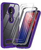 LeYi Moto Z4 Case, Motorola Z4 Case with Tempered Glass Screen Protector [2 Pack], Full-Body Shockproof Rugged Hybrid Bumper Heavy Duty Clear Protective Phone Cases for Moto Z4 Play/Moto Z4, Purple
