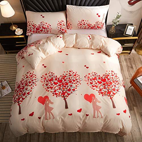LAMEJOR Duvet Cover Set King Size Romantic Style Tree of Love Pattern...