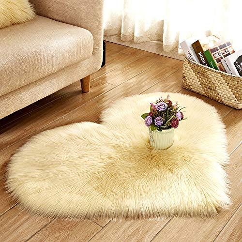 Scrolor Weichbodenmatte Shaggy Teppiche Weiche Lange Flauschige Wärmeform für Wohnzimmer Hochzeit Schlafzimmer Tür Matte Sofa Bodendekoration(Beige,70 x 90 cm)