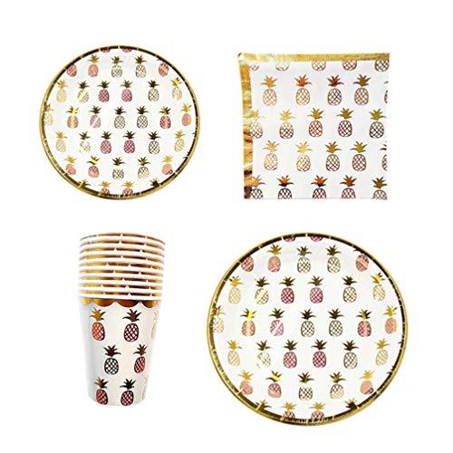PRETYZOOM Party Pineapple Tableware Set Disposable Paper Plates Napkins Paper Cups Kit 50pcs