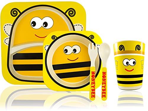 Vajilla infantil hecha de bambú natural, diseño de abeja, lato hondo + Plato llano + Cuchara y tenedor, vajilla bebe, regalo bebe, accesorios bebe, plato bebe, cubiertos infantiles, cosas para bebes